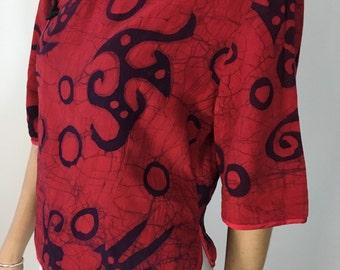 1990s • Batik wax dye Mandarin collar blouse