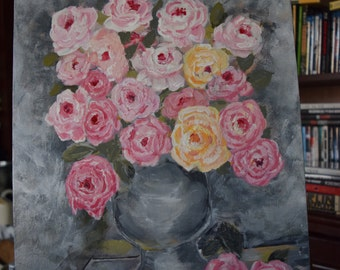 Vase of Roses, Gray, pink, yellow,  Shabby Chic Painting, Roses,  Original Painting,  Wings, 12x16  Acrylic on canvas