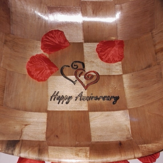 HAPPY ANNIVERSARY hand painted engraved unique gift