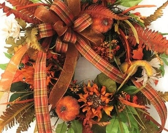 Luxury Fall Wreath with Double Plaid Ribbon Bow