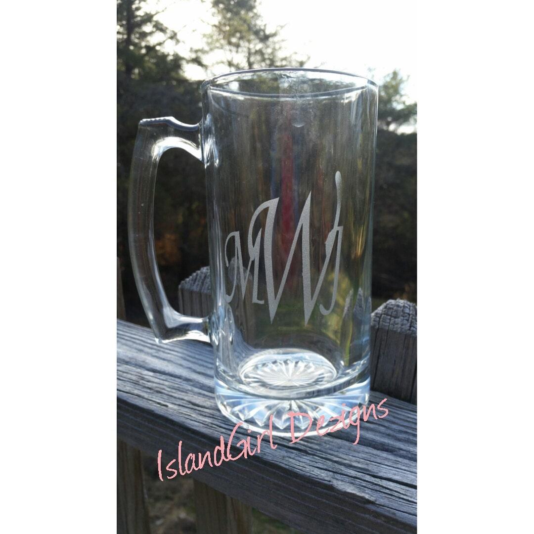 monogram beer mug etched mug etched beer mugs 16oz