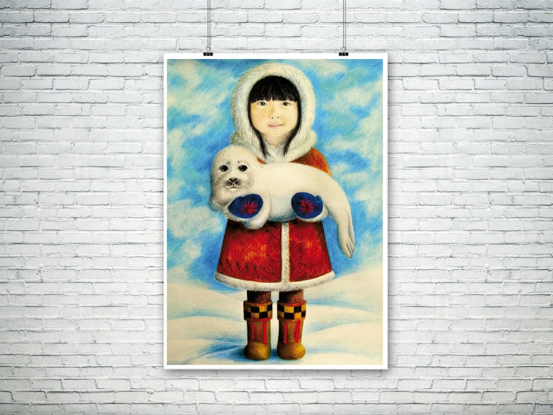 inuit art print and baby seal illustration art