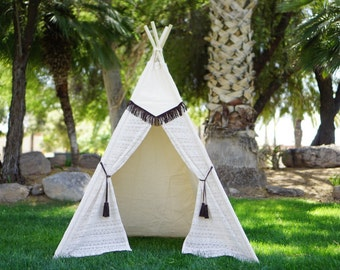 Pocahontas lace teepee, kids Teepee, tipi, Play tent, wigwam or playhouse with canvas and Overlapping front doors