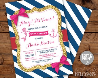 Nautical Mermaid Baby Shower Invitations Navy Gold Pink Bows Girl Twins Invite INSTANT DOWNLOAD Party Invite Personalize Editable Printable