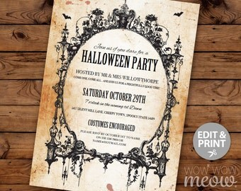 Halloween Invitations Black Gothic Spider Frame Party Printable INSTANT DOWNLOAD Spooktacular Dead Invite Personalized Editable Edit & Print
