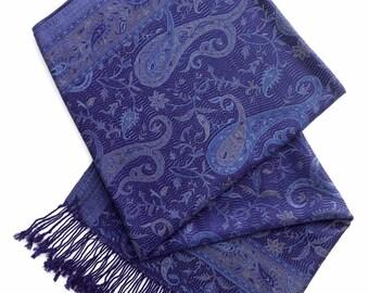 Navy paisley pashmina scarf