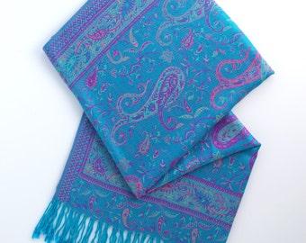 Aqua and purple paisley pashmina scarf