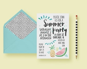 Summer Party, End Of Summer Party - Birthday Party Invitation - Summer Invite - Printable or Printed - FREE SHIPPING