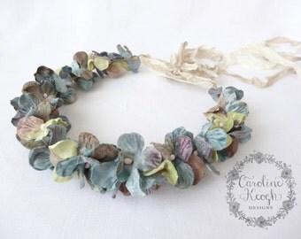 Antique Blue Velvet Hydrangea Flower Crown