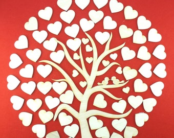 Tree with hearts as wedding tree – 71 pieces as guest book for a frame