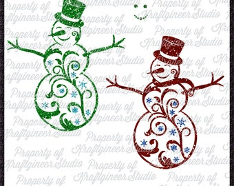 Flourish Snowman SVG Filigree Snowman SVG Christmas SVG Swirly Snowman svg cut file for Cricut Silhouette Scan N Cut Commercial Use