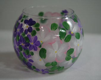Hand Painted Glass Rose Bowl Vase