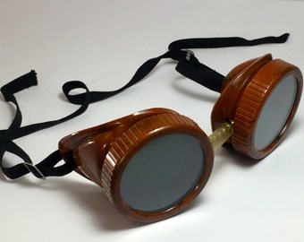 Vintage Industrial 1940's Bakelite? Steampunk Welding Goggles Made in USA