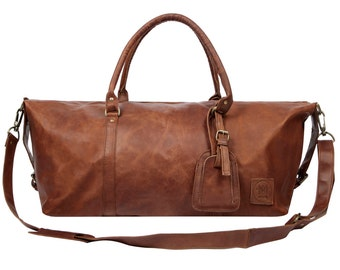 Vintage Butterscotch Tan Leather Weekend or Overnight Bag