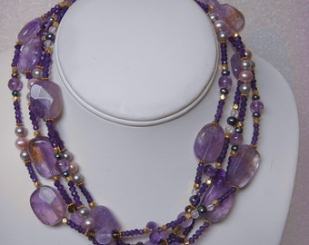 Amethyst, Pearl and Gemstone Convertible Wrap Necklace