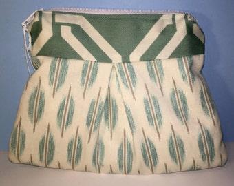 Small Cosmetic Bag - Teal Geometric