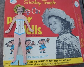 Vintage 1958 Shirley Temple Snap On Paper Dolls Set by Samuel Gabriel & Sons NY 50s Girls Toy Doll Dresses Outfits Accessories Story Time