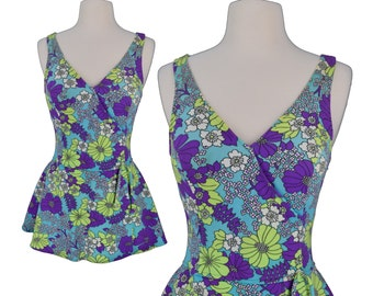 Vintage Bathing Suit, 1960s Bathing Suit, 60s Bathing Suit, One Piece, Psychedelic, Mod Swimsuit, Floral Swimsuit, Mod Bathing Suit, Medium