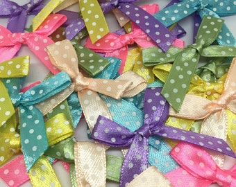 60 x Spotted Satin Embellishment Bows in Random Mixed Pastel Colours