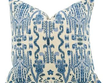 Blue and Cream Geometric Pillow, Ikat pillow, Indian pillow, Ethnic pillow, 20 x 20 inch