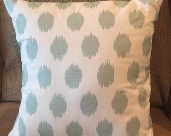 "Handmade, slip-covered decorative throw pillow ""Blue Slub"""