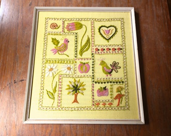 Vintage Large Framed Crewel Embroidery Yellow Pink Orange Green Daisy Heart Tree Birds Snail MCM