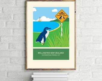 The pedestrian-friendly city – illustration. A3 or A4 print – Wellington New Zealand series.