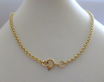 "Gold Rolo Belcher Chain, 18k, 18ct, 750, Solid Yellow Gold, Women's Gold Belcher Necklace, 2.2mm, 45cm's, 18 inches, 18"",  N165"