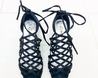 SALE 15%OFF Lace up sandals, strappy sandals, heeled sandals, black sandals, womens sandals, vintage sandals, mid heel, satin, caged shoes -