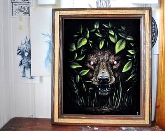 "At Night I - Original black velvet painting 16"" x 20"""