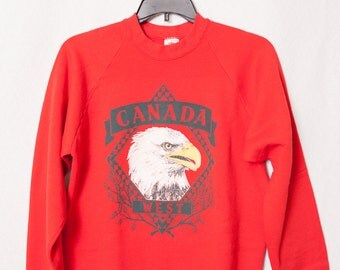 Red Canada Eagle Sweatshirt, Vintage Canada Sweatshirt, Hipster Canada Sweater with Eagle, Canada West Sweatshirt, Canadian Sweater