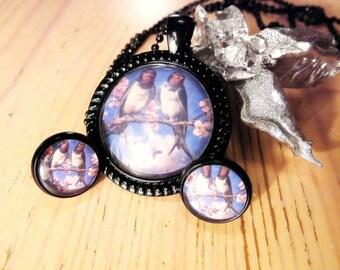 Jewellery set necklace earrings cabochon nostalgia Vögelche