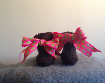 Brown Crochet Baby Booties with Pink and Green Whale Printed Ribbon
