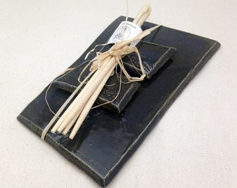 Pottery Sushi Plate for Two - With Bamboo Chopsticks