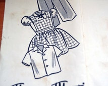 The Sun, News-pictorial, Melbourne. 1956. Marian Martin, pattern 8215 size 4 yrs. blouse, cobbler apron, overalls.