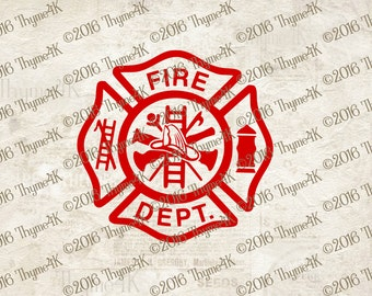 Digital Design Fire Department Maltese Cross Instant Download -  Includes Svg, png, jpeg, dxf, & eps.