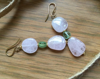 Earrings of Pink Beryl and Green Tourmaline Crystals