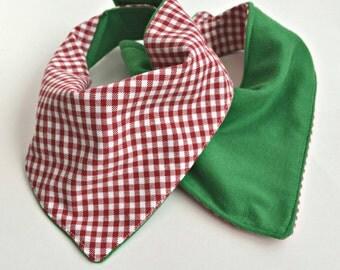 Bandana Bib - Baby Bib - Reversible Bibdana - Christmas, Red Gingham and Jersey Green