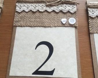 Table numbers and menus