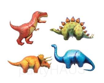 "Dinosaur Balloons, 4 Pack, 50"", Jurassic Party, Dino Party, T Rex, Stegosaurus, Triceratops, Apatosaurus, Dinosaur Party, Birthday Party"