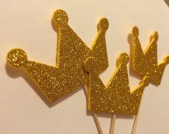 Gold crown cupcake toppers (12piece)