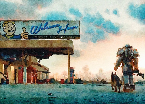 Fallout Art Print Watercolor Print Room by ItemsFromAlexander