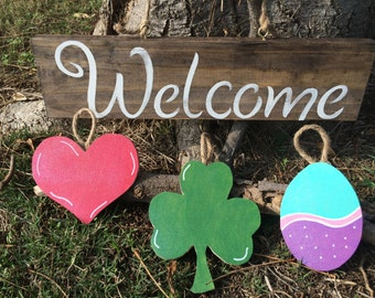 Seasonal welcome sign, Valentines,St.patrics Day, Easter wood sign
