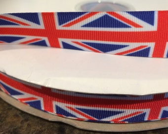 Union Jack Flag Printed Grosgrain Ribbon