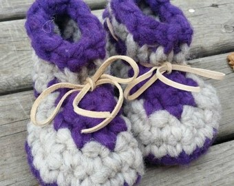 Sugar Plum - Leather Soled Baby Booties