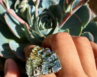 Bismuth and Pyrite Ring