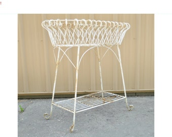 10% Off Sale! Vintage Victorian Style Wrought Wire Scrolling Curule Outdoor Planter Plant Stand