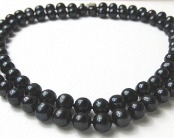 Double Strand 10 mm AAA- Lustrous Pure Black Freshwater Pearl Necklace -nk54