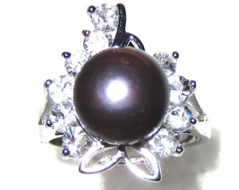 10mm AAA Black Freshwater Cultured Pearl Diamond CZ Ring - Various sizes -rg48