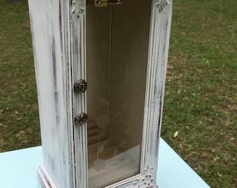 Vintage Jewelry Box, Distressed Wood Jewelry Box, Ornate White Vintage Jewelry Box, Shabby Chic Jewelry Box, Rustic Jewelry Box